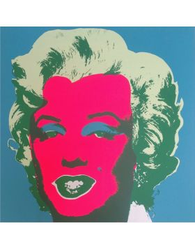 Marilyn Monroe-Pink On Blue 11.30 print by Andy Warhol