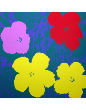 Flowers Yellow/Purple/Red On Blue 11.65 - silkscreen by Andy Warhol