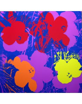 Flowers - Red/Orange/Yellow On Purple 11.66 - silkscreen by Andy Warhol