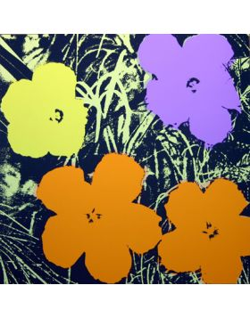 Flowers Orange/Yellow/Purple 11.67 - silkscreen by Andy Warhol