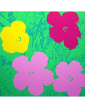 Flowers Pink/Yellow On Green 11.68 - silkscreen by Andy Warhol