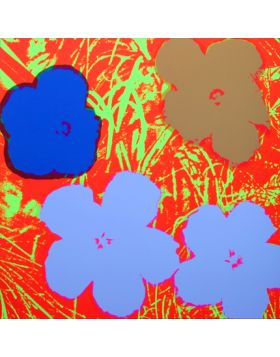 Flowers Blue On Orange 11.69 - silkscreen by Andy Warhol