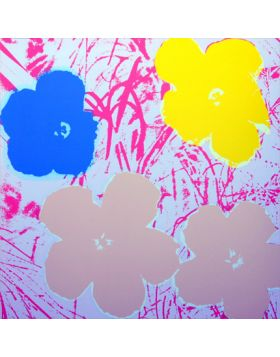Flowers Yellow/Gold/Blue On Pink 11.70 - silkscreen by Andy Warhol