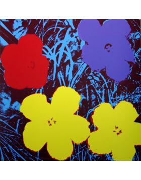 Flowers Yellow/Red On Blue 11.71 - silkscreen by Andy Warhol