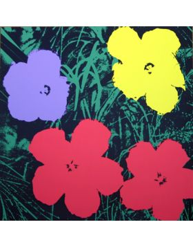 Flowers Red/Purple/Yellow On Green 11.73 - Silkscreen by Andy Warhol