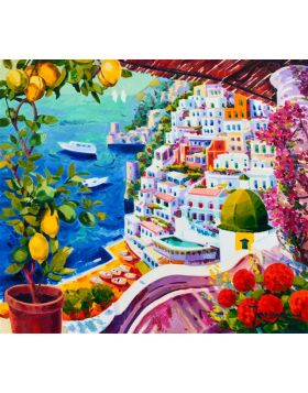 Beautiful lemons frame Positano