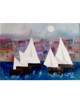 Seaport with Sails