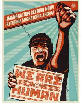 Immigration reform now - We are human guy fist bilingual