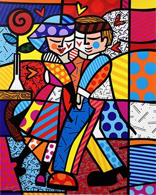 Cheek to Cheek - opera di Romero Britto in vendita allo Stand 36 di Deodato Arte alla GRANDART Milano